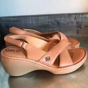 Born wedge tan sandals sling back